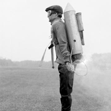 vintage pic of man with jet pack