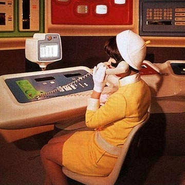 vintage pic of futuristic office