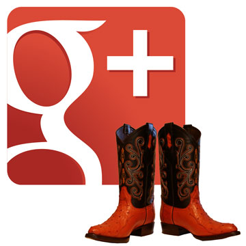 Google+ logo with boots